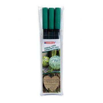 Edding CALLIGRAPHY PEN SET 3 PENS 2mm 3.5mm 5mm - Bottle Green
